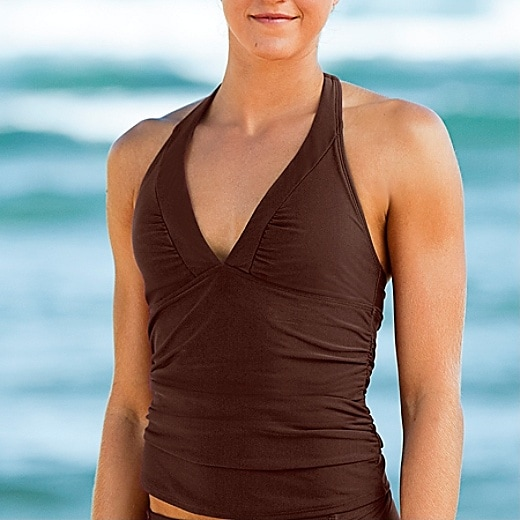 Shirrendipity Halter Tankini - Coco Bean
