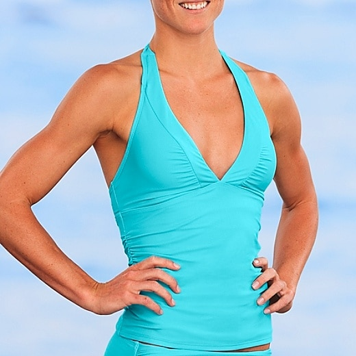 Shirrendipity Halter Tankini - Wave Blue