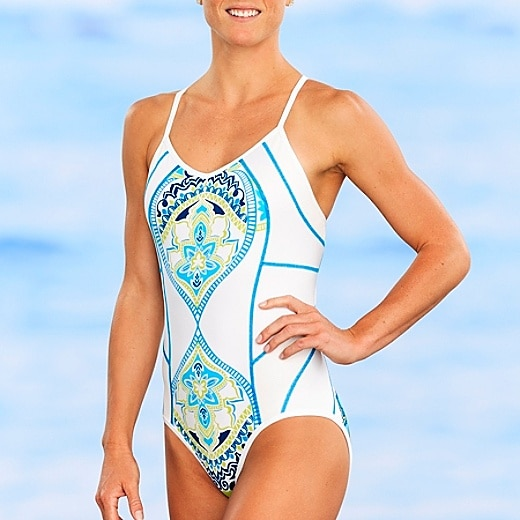 Athleta Tri Dye Lap Time Swim One Piece Long Torso Swimsuit