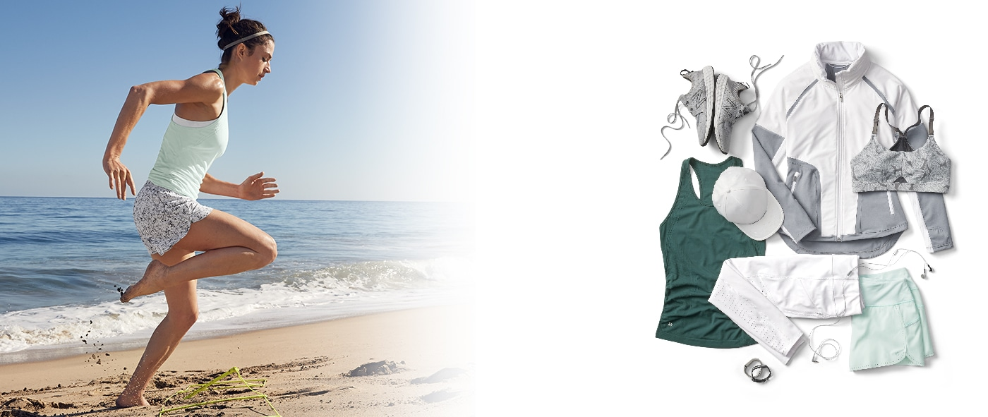woman wearing speedlight tank and printed shorts and training on the beach