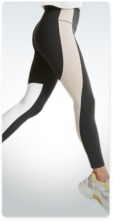 white, beige and black colorblock toned tights