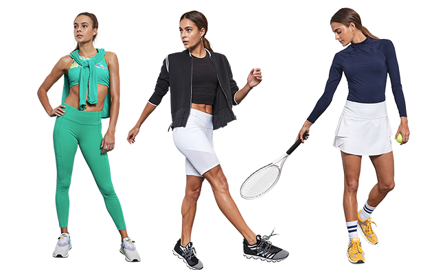 line up out 3 outfits, teal, black and white, and one tennis outfit