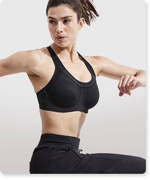 woman working out in purple D-DD Hyper Focused Bra In Powervita