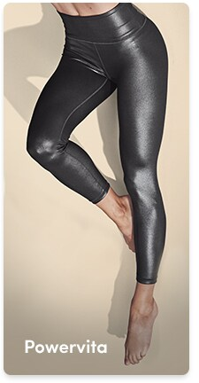 woman in shiny powervita tights