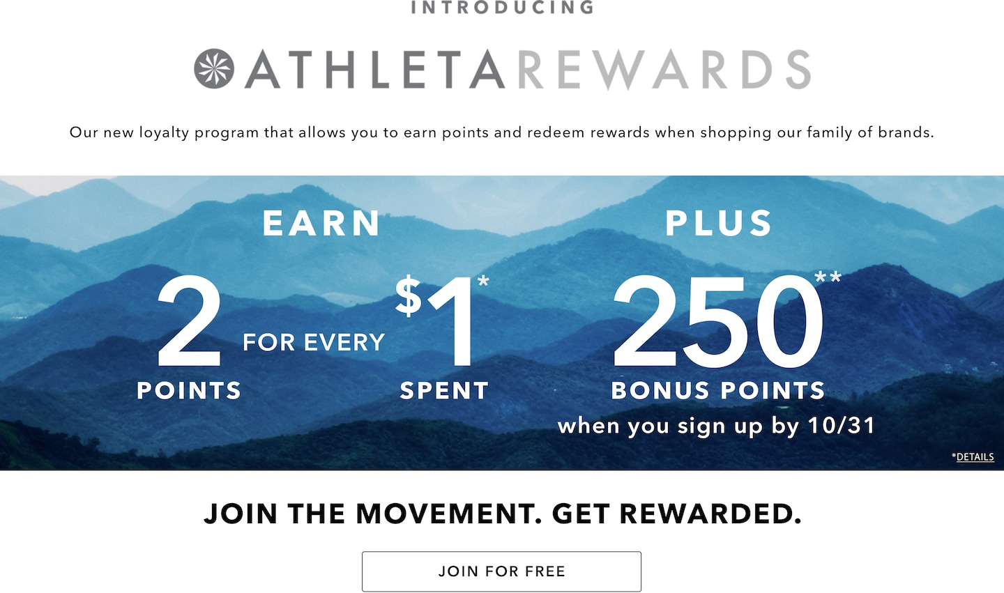 Introducing Athleta Rewards. Join for Free