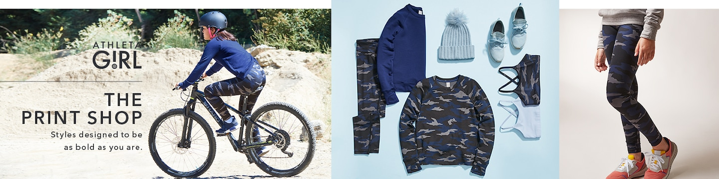 The Print Shop, styles designed to be as bold as you are. Girl on bike featuring camo styles