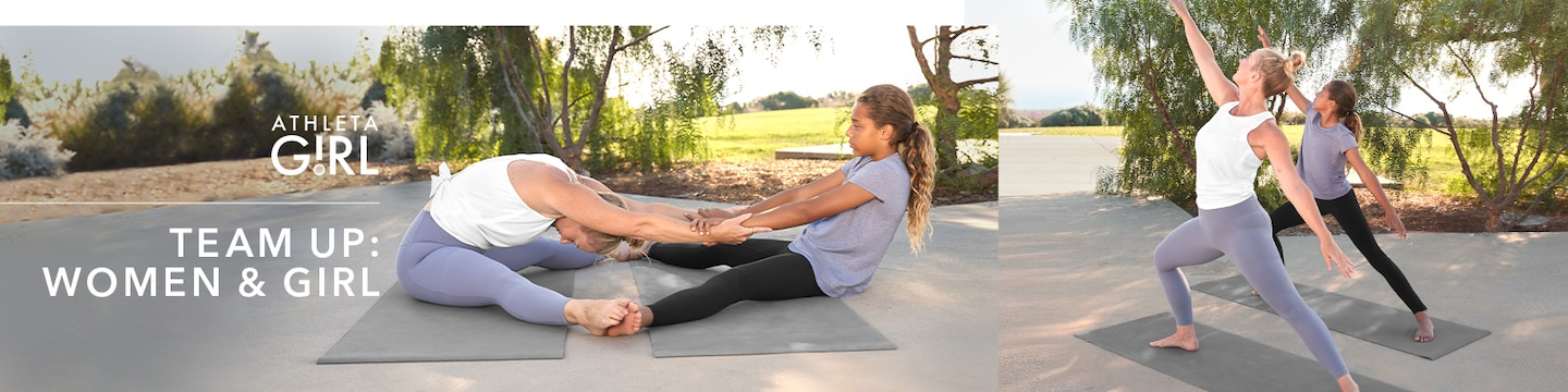 Athleta girl Team Up: Women & Girl - Mom and daughter doing yoga outdoors