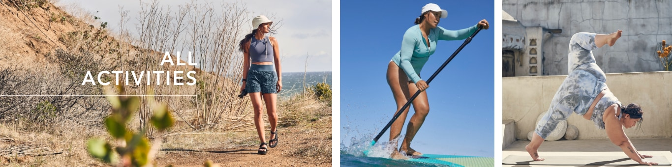 All Activities - Photo of a woman hiking, a woman stand up paddleboarding and a woman doing yoga