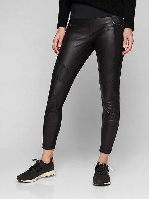 Athleta Ponte Leather Legging Black