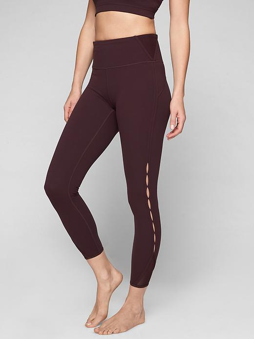 Athleta High Rise Peekaboo 7/8 Tights Cassis