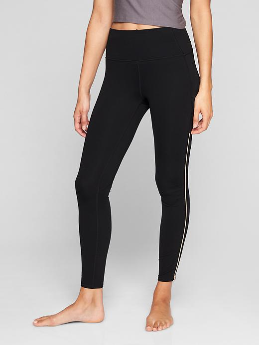 Athleta High Rise Copper Zipper Chaturanga Tights Black