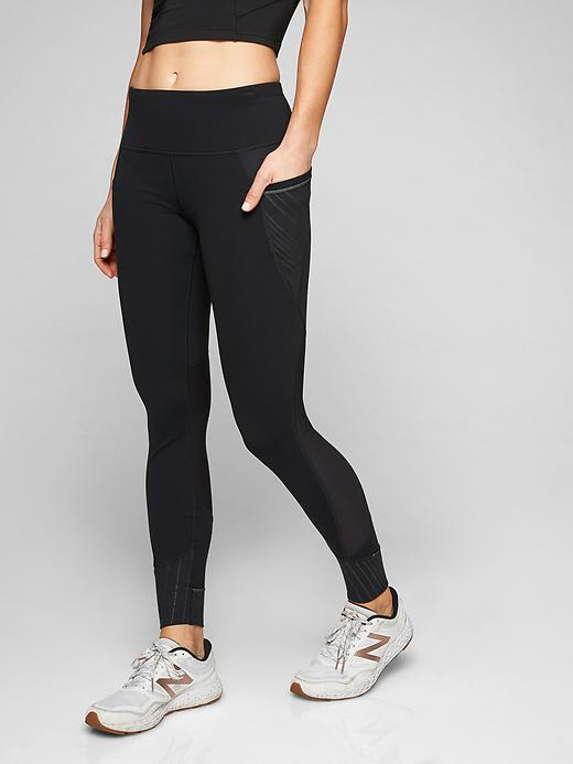 Athleta Shimmer Stripe Relay Tights 2.0 Black