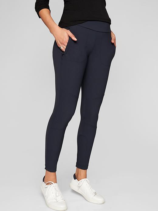 Athleta Highline Hybrid Ankle Tights 2.0 Navy Captain