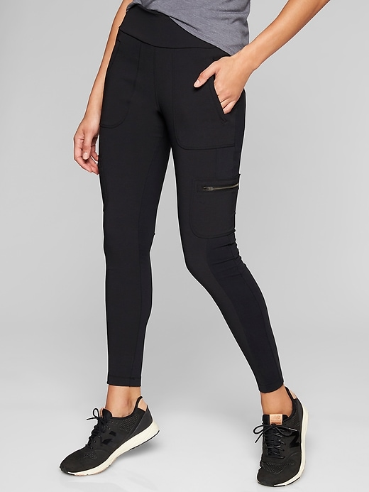 Athleta Highline Hybrid Cargo Tights Black