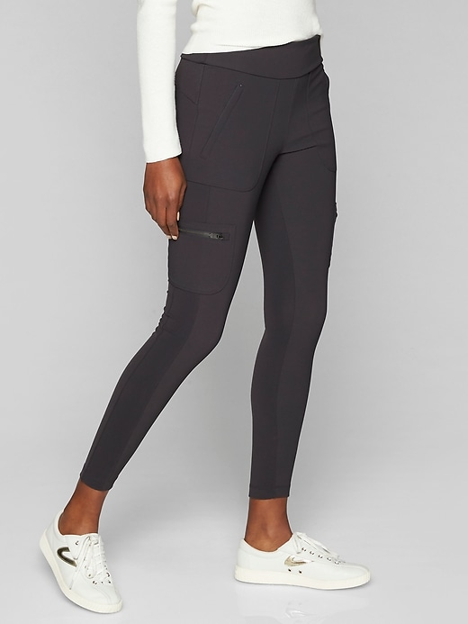 Athleta Highline Hybrid Cargo Tights Dark Onyx Grey