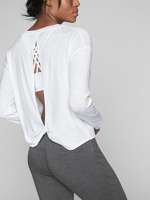 Athleta Womens Twist Back Long Sleeve Bright White Size L