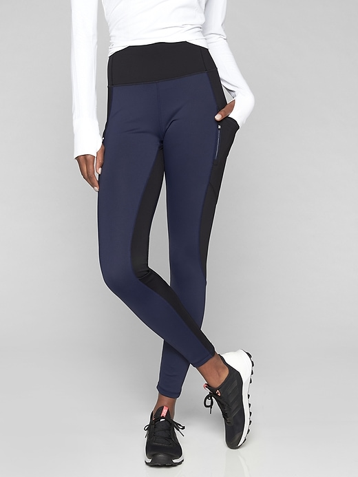 Athleta High Traverse Tights Navy/ Black