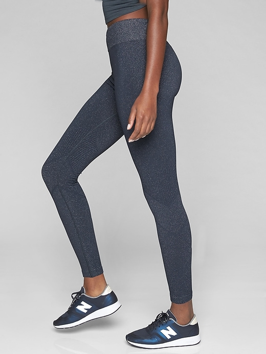 Athleta Shimmer Seamless Tights Charcoal Grey Heather
