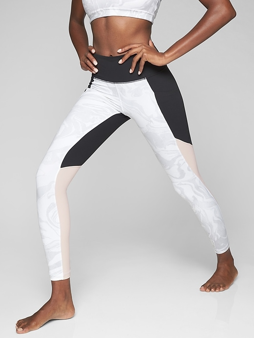 Athleta Marble Salutation Tights Gathering Storm