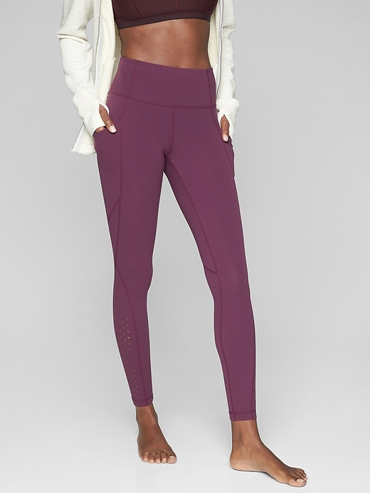 Athleta Laser Cut Salutation Tights Light Plum