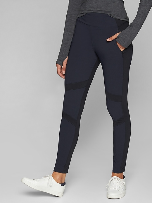 Athleta Highline Hybrid Summiter Tights Navy Captain/ Black
