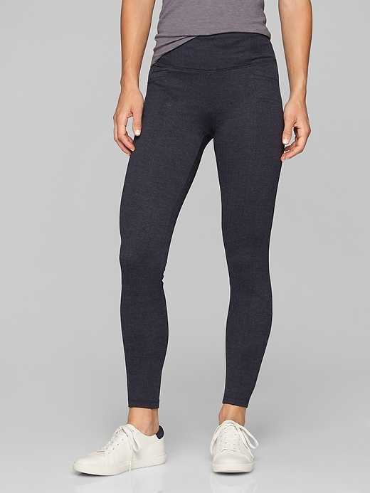 Athleta Herringbone Metro High Waisted Legging Navy/ Black