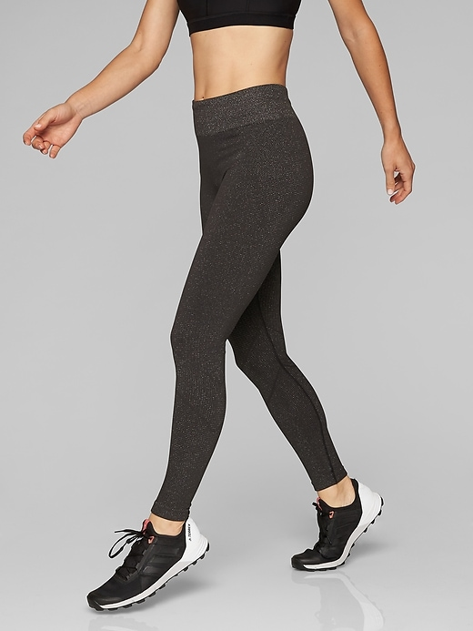 Athleta Shimmer Seamless Tights Espresso