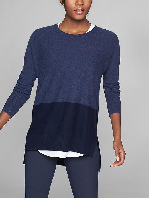 Athleta Wool Cashmere Stargazer Pullover Navy Colorblock
