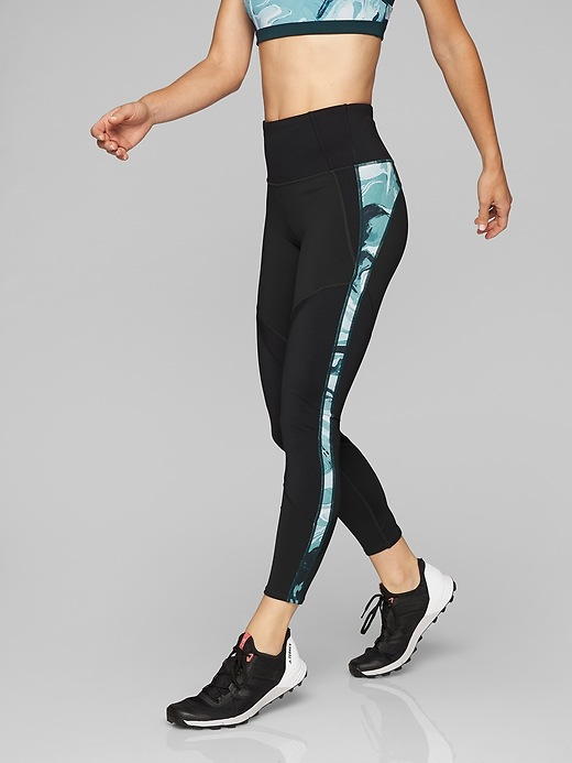 Athleta Marble Precision 7/8 Tights Abyss/ Black