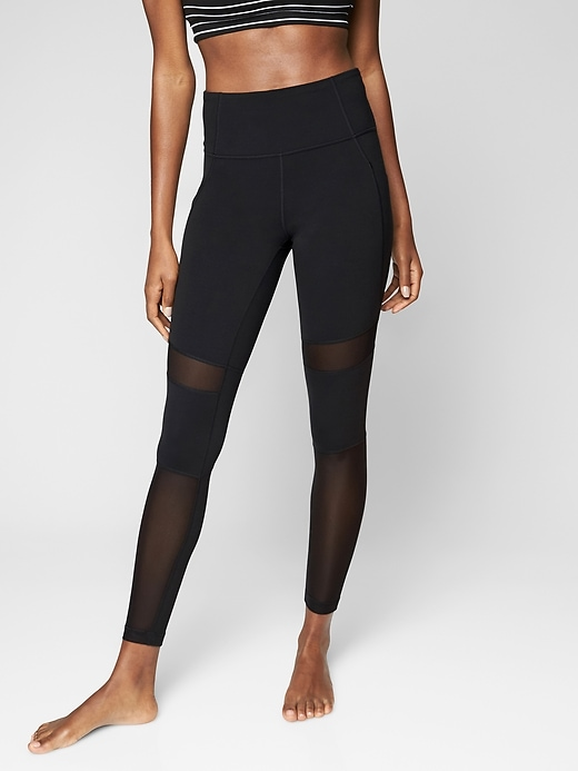 Athleta Meshblock Pocket Salutation Tights Black