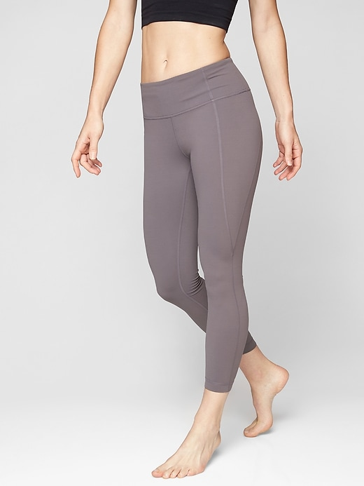 Athleta Mid Rise Salutation 7/8 Tights Silver Bells