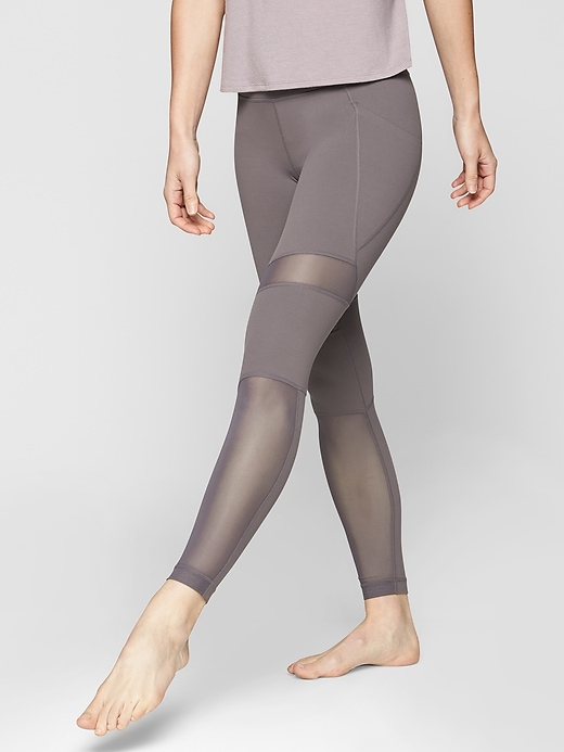Athleta Meshblock Pocket Salutation Tights Silver Bells