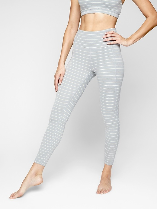 Athleta Stripe Salutation 7/8 Tights Grey Heather