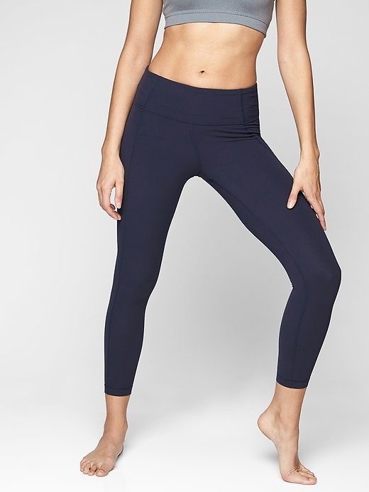 Athleta Mid Rise Salutation 7/8 Tights Navy