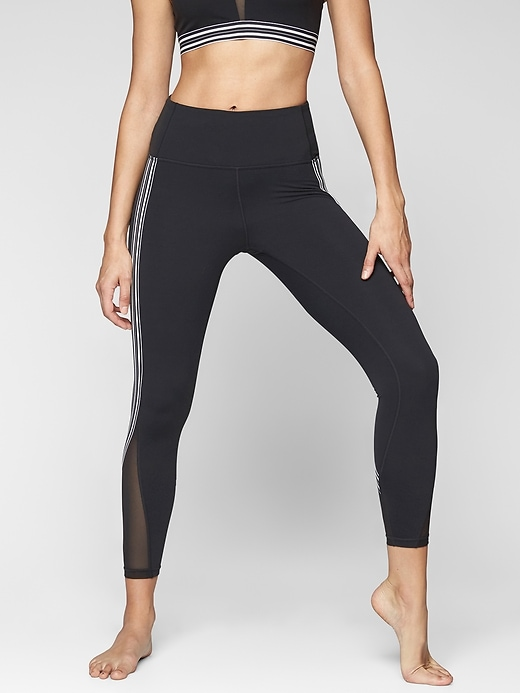 Athleta Side Stripe Salutation 7/8 Tights Black