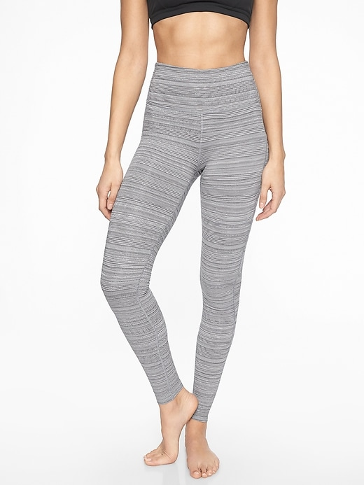 Athleta High Rise Jacquard Chaturanga Tights Silver Bells/ Fog