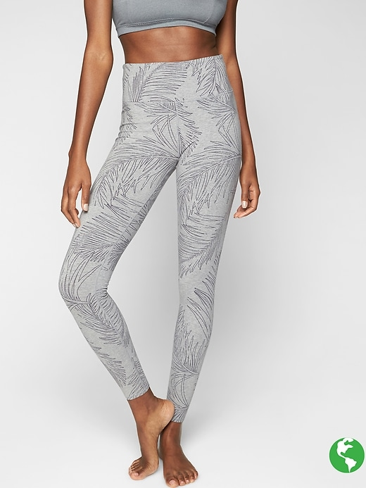 Athleta Tropic Organic Cotton Be Present Tights Grey Heather