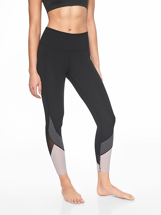 Athleta Colorblock Salutation 7/8 Tights Black