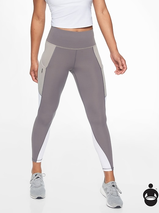 Athleta Colorblock Up For Anything 7/8 Tights Silver Bells