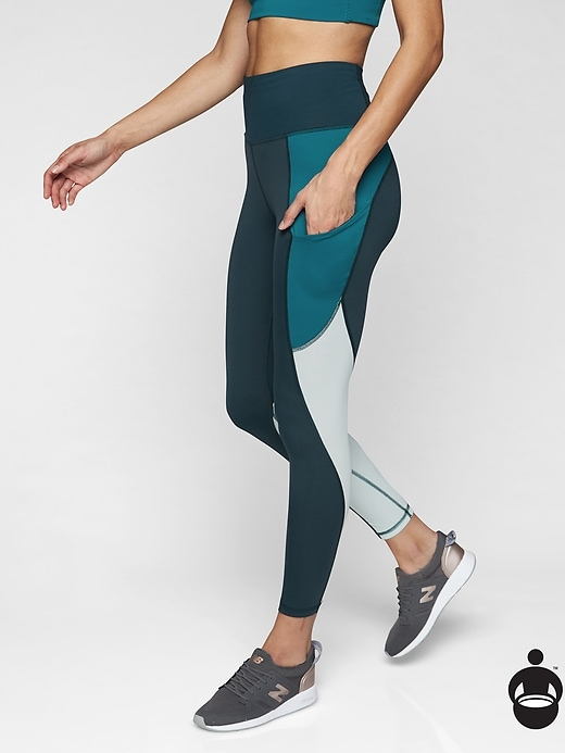 Athleta Colorblock Up For Anything 7/8 Tights Constellation Blue