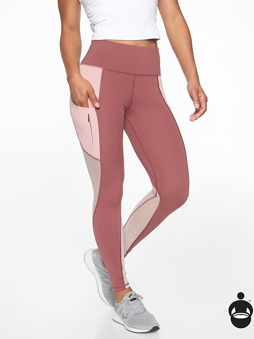 Athleta Colorblock Up For Anything 7/8 Tights Crushed Berry