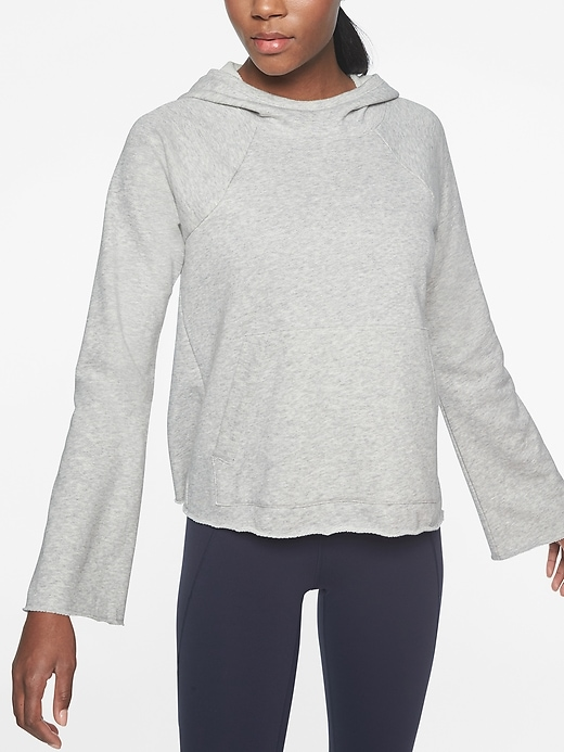 Athleta French Terry Pique Hoodie Light Grey Heather