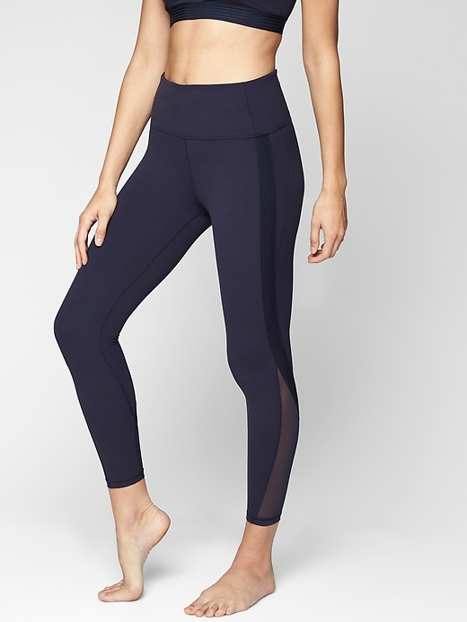 Athleta Side Stripe Salutation 7/8 Tights Navy