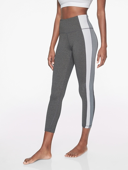 Athleta Colorblock Asym Powervita 7/8 Tights Black Heather