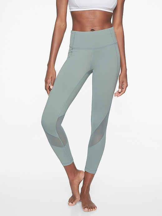Athleta Eclipse 7/8 Tights Lead Green