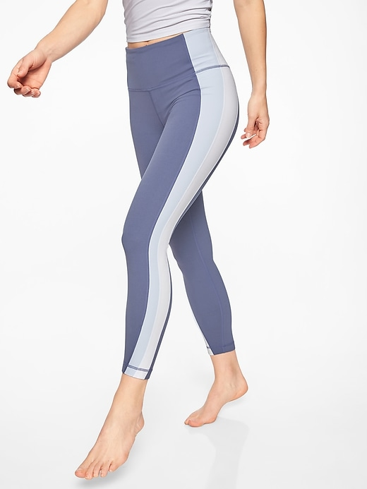 Athleta Colorblock Asym Powervita 7/8 Tights Stormy Sky