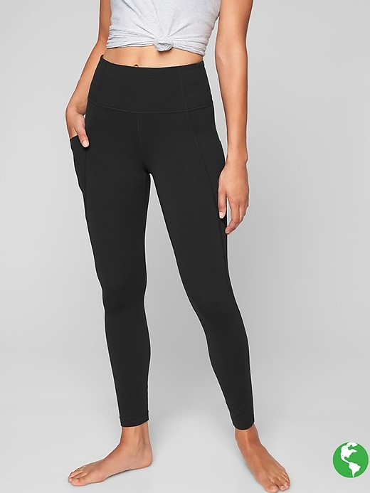 Athleta Stash Pocket Salutation Tights Black