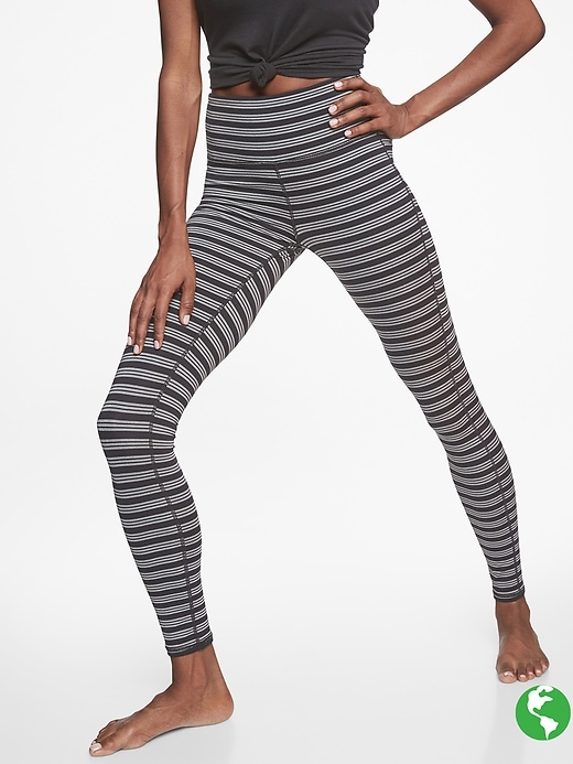 Athleta High Rise Heather Stripe Chaturanga Tights Black/ Grey Heather