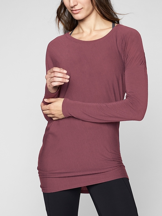 Athleta Threadlight Asym Relaxed Long Sleeve Crushed Berry