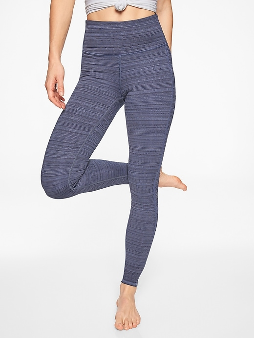 Athleta High Rise Jacquard Chaturanga Tights Navy/ Stormy Sky